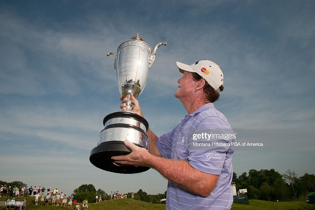 Senior PGA Champion Tom Watson with the Alfred S. Bourne Trophy at the 72nd Senior PGA Championship Presented by KitchenAid at Valhalla Golf Club in Louisville, KY, USA, on Sunday, May 29, 2011.