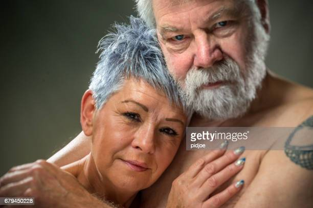 Senior portrait, couple embracing each other