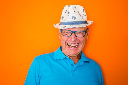 Senior Portrait - jolly laughing senior man - gettyimageskorea