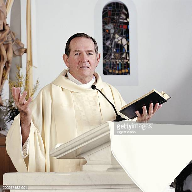 senior priest giving sermon, portrait - priest stock pictures, royalty-free photos & images
