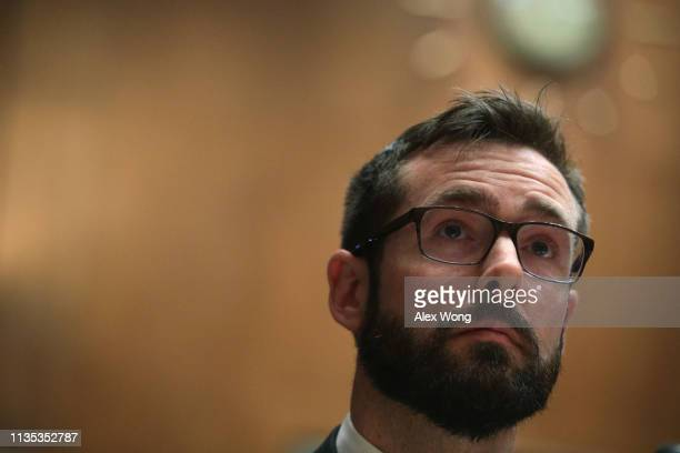 Senior privacy counsel for Google Inc Will DeVries testifies during a hearing before the Senate Judiciary Committee March 12 2019 on Capitol Hill in...