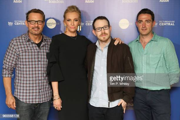 Senior Programmer David Courier actress Toni Collette director Ari Aster and guest attend the 'Hereditary' red carpet arrivals during the Sundance...