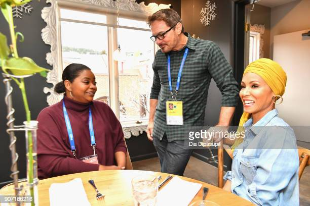 Senior Programmer for Sundance Film Festival David Courier speaks with actresses Octavia Spencer and Jada Pinkett Smith at the Feature Film Jury...