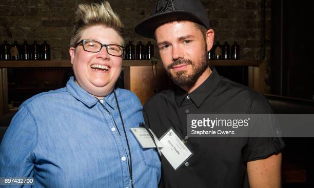 LAFF senior programmer Jenn Wilson and Daniel Peddle attend the DGA Reception during 2017 Los Angeles Film Festival at City Tavern on June 16 2017 in...