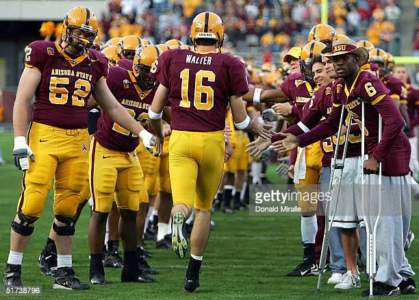 Senior quarterback Andrew Walter of the Arizona State Sun Devils enters his home field for the last time during his team's Pac-10 game against the...