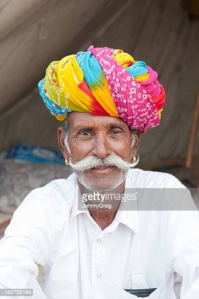 Senior Rajasthani Indian Tribal Man with Fabulous Moustache