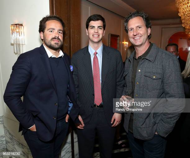 CNN senior reporter Dylan Byers CEO of Quorum Alex Wirth and CEO of Gelle Loren Bendele attend GLG Social Impact Dinner At Milken at Cecconi's on...