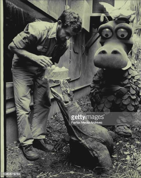 Senior reptile keeper, Terry Boylan of Mosman is cornered by hundary, dragon as St. George's dragon looks on.St. George Building Society has come to...