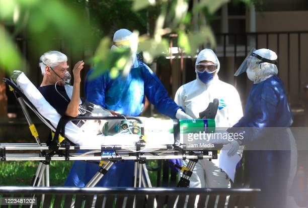 A senior resident of the nursing home Luis Elizondo is evacuated on May 7 2020 in Monterrey Mexico Authorities of a nursing home in Guadalupe...