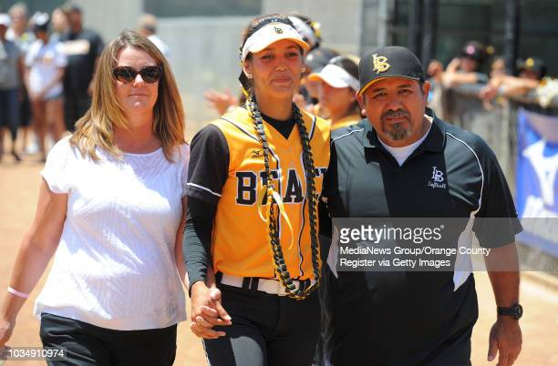 Senior Sarah Carrasco and her family before LBSU lost to Cal Poly softball 30 in Long Beach CA on Sunday May 4 2014