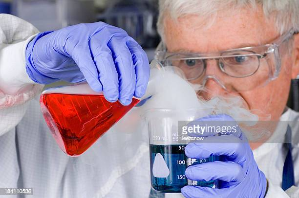 Senior Scientist Chemist With Steaming Chemicals