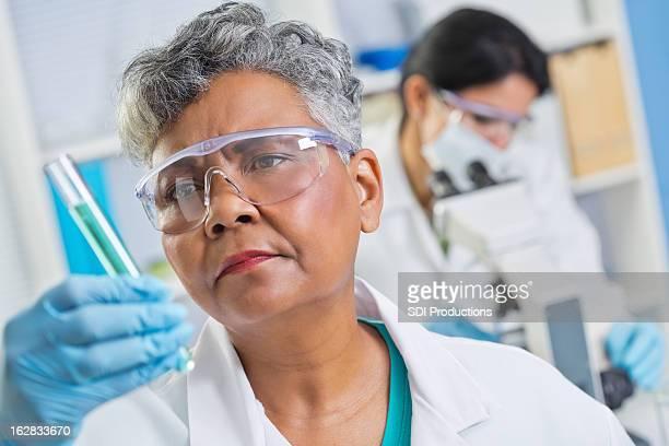 Senior scientist examining chemical in test tube at science lab