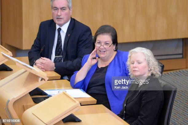 Senior Scottish Labour MSP Jackie Baillie during First Ministers Questions in the Scottish Parliament after taking over as the partys interim leader...