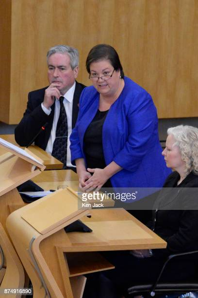 Senior Scottish Labour MSP Jackie Baillie speaking during First Ministers Questions in the Scottish Parliament after taking over as the partys...