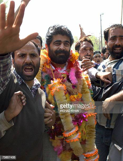 Senior separatist leader and chairman of the Jammu and Kashmir National Front Nayeem Khan is surrounded by party supporters shouting proPakistan...