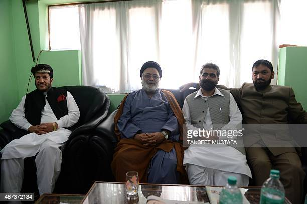 Senior seperatist leader Shabir Shah Shia cleric Aga Syed Hassan Nayeem Khan and Ayaz Akbat pose for a photograph as they meet after a press...