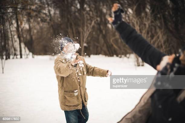 Senior snow ball fight