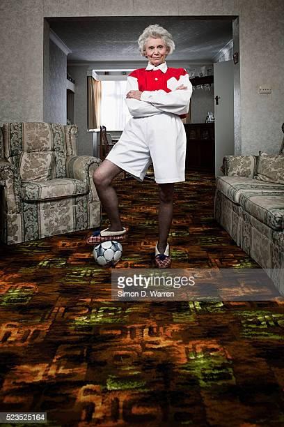 Senior soccer fan