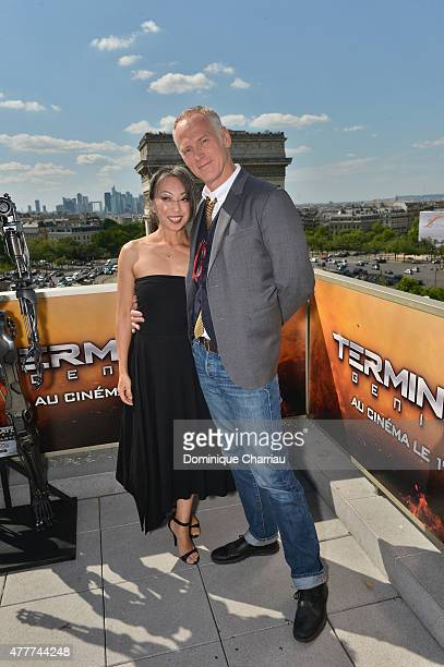 Senior Storyboard Artist Jane Wu and Director Alan Taylor pose during the France Photocall of 'Terminator Genisys' at the Publicis Champs Elysees on...