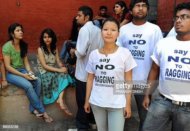 Senior students from various colleges participate in a university campaign against 'ragging' at Kirori Mal College in New Delhi on July 16 2009 As...