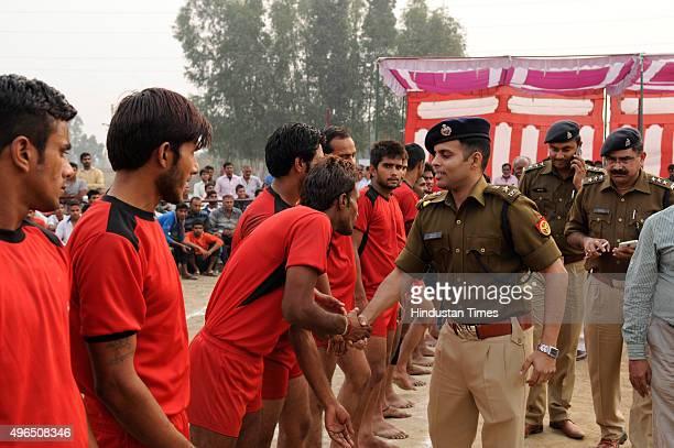 Senior Superintendent of Police Kiran Sivakumar meeting with Kabaddi players before their match during a Sadbhawana Kabaddi tournament held at Bisada...