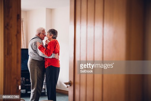 Senior Tenderness as they Dance in their Home