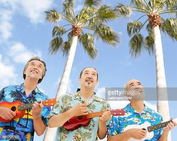 Senior Three Men Playing The Ukulele