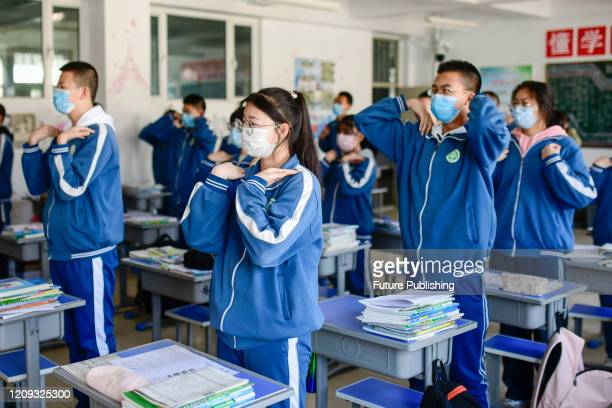 HOHHOT CHINA APRIL 7 2020 Senior three students practice rhythmic exercises during recess Hohhot Inner Mongolia China April 7 2020 PHOTOGRAPH BY...