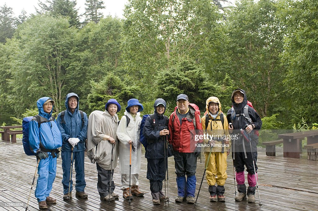 Senior tour group portrait,hiking : ストックフォト