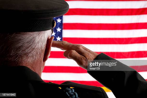 senior veteran man in military uniform saluting american flag - saluting stock pictures, royalty-free photos & images