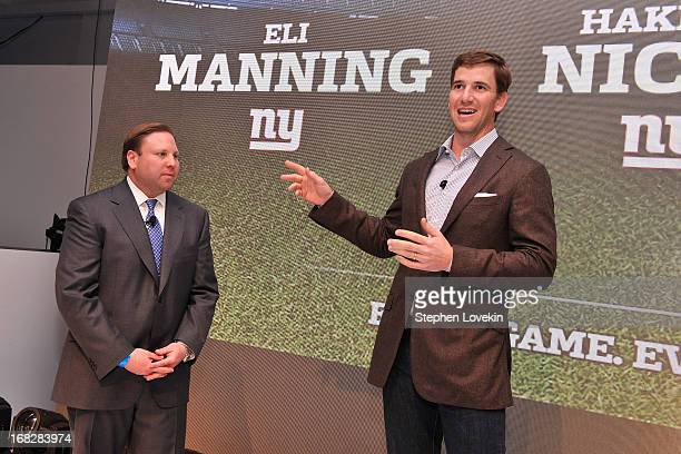 Senior Vice President Ad Sales Keith Kazerman and NFL Player Eli Manning speak onstage at DIRECTV's 2013 National Ad Sales Upfront on May 7 2013 in...
