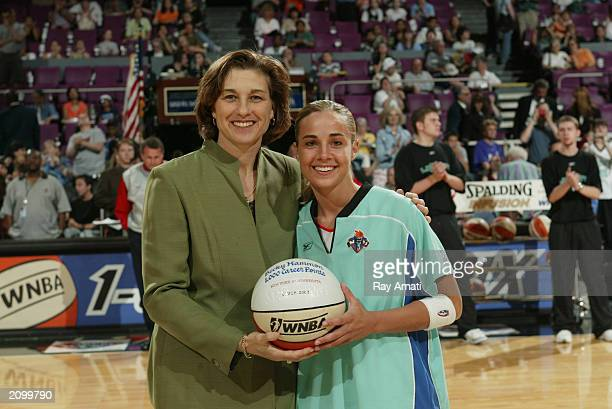 Senior Vice President and General Manager Carol Blazejowski and Becky Hammon of the New York Liberty pose for a portrait prior to the WNBA game...