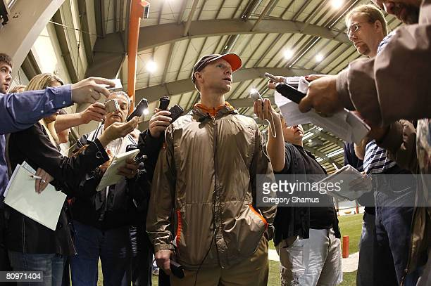 Senior vice president and general manager Phil Savage of the Cleveland Browns talks with media after signing a three year contract extension prior to...
