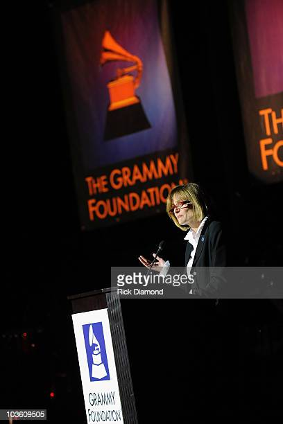 Senior Vice President at GRAMMY Foundation Kristen Madsen speaks onstage at the Music Preservation Project Cue The Music held at the Wilshire Ebell...