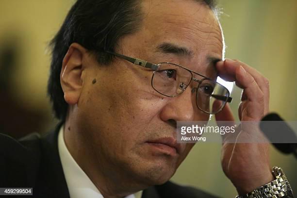 Senior Vice President for Global Quality Assurance at the Takata Corporation Hiroshi Shimizu testifies during a hearing before the Senate Commerce...