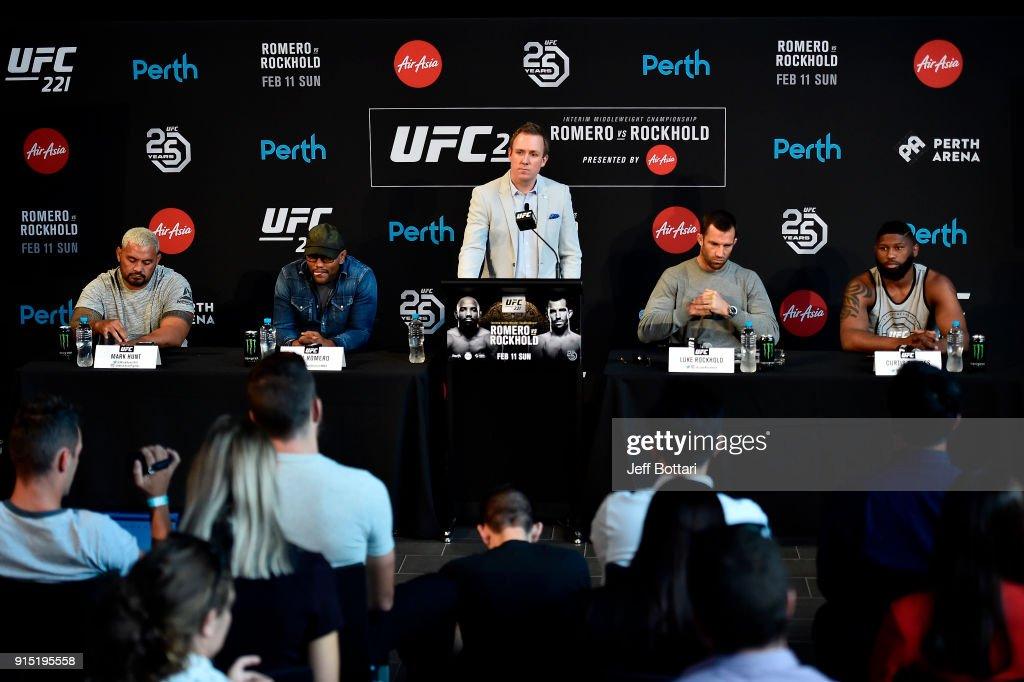 Senior Vice President, International and Content David Shaw (C) delivers an introduction speech to media during the UFC 221 Press Conference at Perth Arena on February 7, 2018 in Perth, Australia.