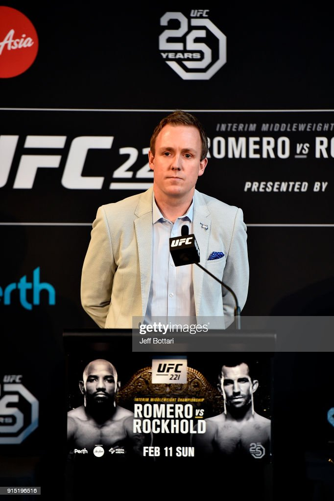 Senior Vice President, International and Content David Shaw delivers an introduction speech to media during the UFC 221 Press Conference at Perth Arena on February 7, 2018 in Perth, Australia.