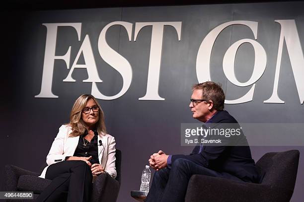 Senior Vice President of Apple Retail at Apple Inc Angela Ahrendts and EditorAtLarge of Fast Company Rick Tetzeli speak onstage during the Fast...