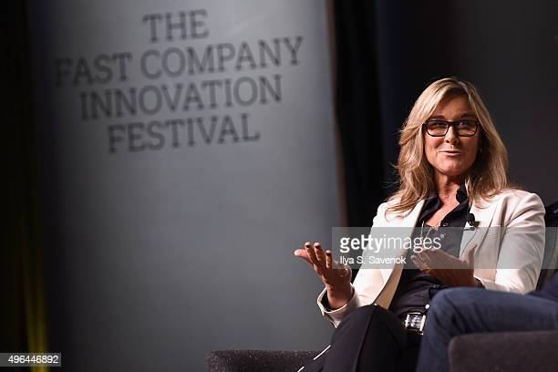 Senior Vice President of Apple Retail at Apple Inc Angela Ahrendts speaks onstage during the Fast Company Innovation Festival Leadership Culture with...