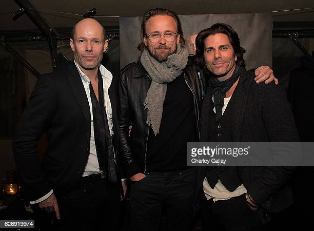 Senior Vice President of Design Banana Republic Michael Anderson Joachim Ronning and Greg Lauren attend the Greg Lauren For Banana Republic Event at...