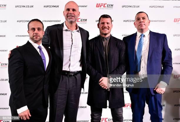 Senior Vice President of Global Franchising Tamer El Guindy UFC Gym President Adam Sedlack Michael Bisping of England and Joe Long pose during the...