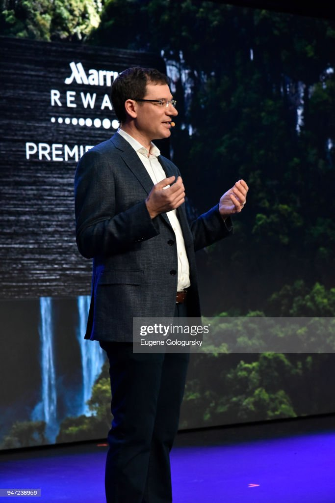 Senior Vice President of Global Loyalty at Marriott International David Flueck at the Marriott International Rewards Members Event at Spring Studios on April 16, 2018 in New York City. At the event, Marriott announced to its 110 million members, the unification of the Marriott Rewards, The Ritz-Carlton Rewards, and SPG and the expansion of its experiences platform Moments, to over 110,000 across 1,000 cities.
