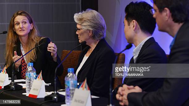 Senior vice president of Google Rachel Whetstone answers questions during a press conference in Sendai northern Japan on July 2 2012 as special...