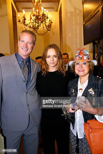 Senior Vice President of People for the Ethical Treatment of Animals PETA Dan Mathews Fashion Designer Stella McCartney and Yanou Collart pose...