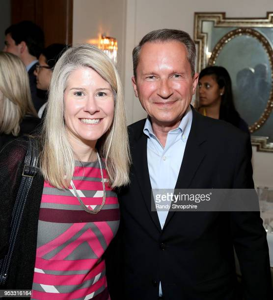 Senior Vice President of the UN Foundation Susan Myers and head of Public Affairs at GLG Richard Socarides attend GLG Social Impact Dinner At Milken...
