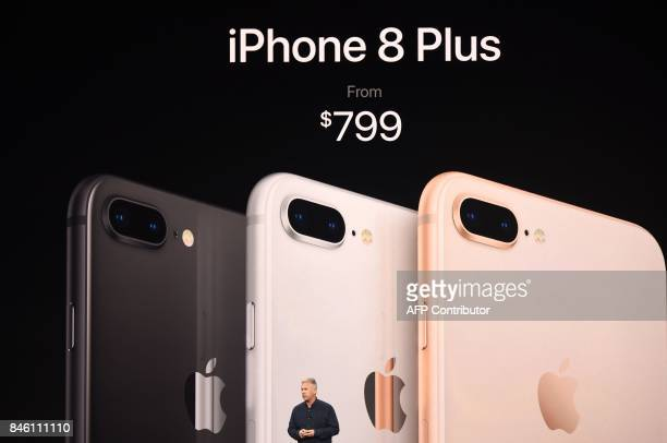 Senior Vice President of Worldwide Marketing at Apple Philip Schiller speaks about the iPhone 8 Plus during a media event at Apple's new headquarters...