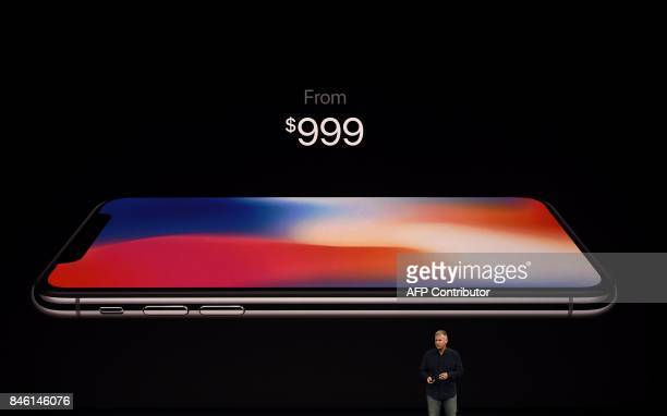 Senior Vice President of Worldwide Marketing at Apple Philip Schiller introduces the iPhone X during a media event at Apple's new headquarters in...
