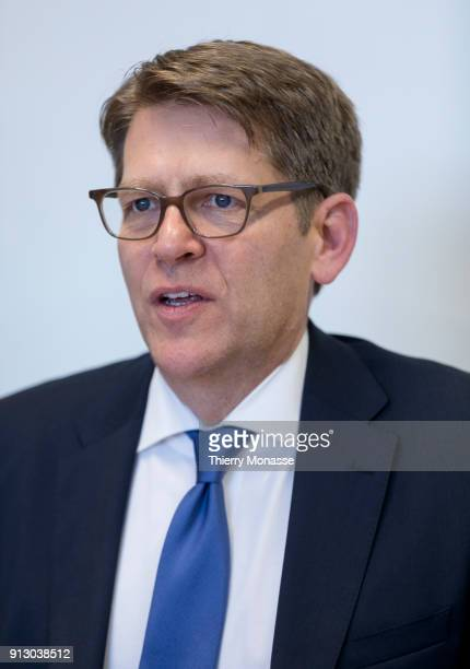 Senior Vice-President of Worldwide Corporate Affairs at Amazon James Carney speaks with EU officials on February 1, 2018 in Brussels, Belgium. Mr...
