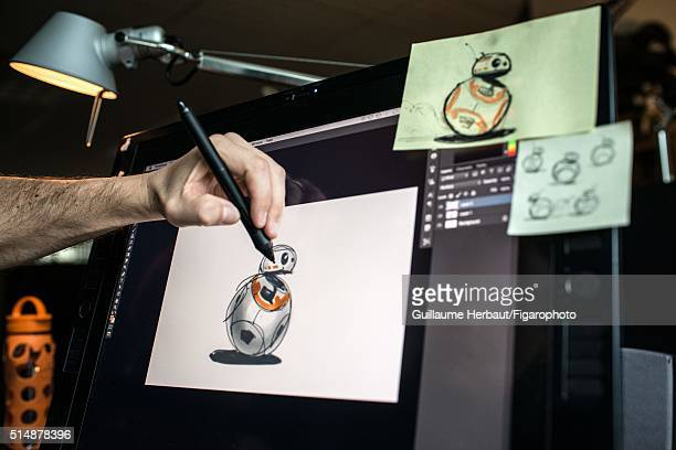 Senior Visual Effects Art Director Christian Alzmann is photographed drawing BB8 for Le Figaro Magazine on November 24 2015 at Industrial Light Magic...