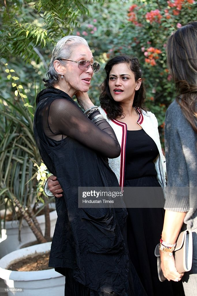 Senior VP & Editorial Director of Hearst Magazines International, Kim St Clair Bodden (L) and Indian businesswoman Kalli Purie (R) attending the party thrown by the fashion glossy Harper's Bazaar at Dirty Martini, Olive Bar & Kitchen on December 1, 2012 in New Delhi, India.